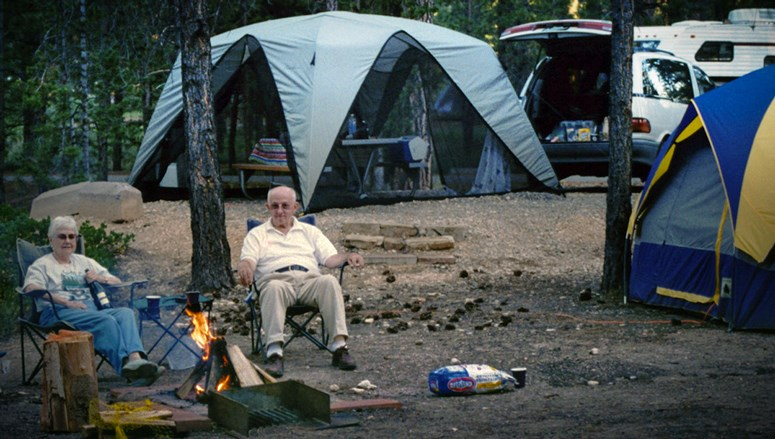 Old people camping